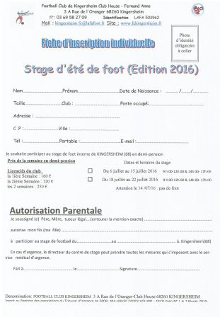 Inscription au stage été 2016